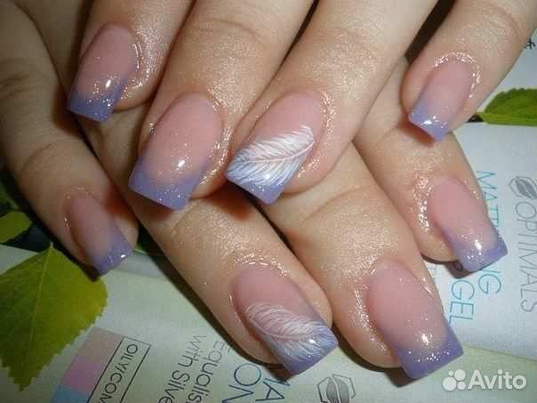 Дизайн перьями ногти