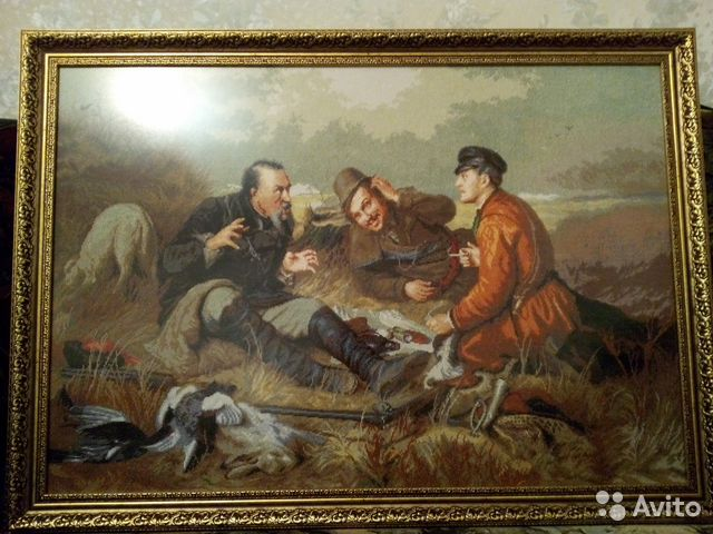 Охотники на привале вышивка крестом