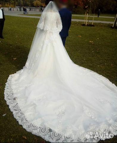 efe17ae90cb Свадебное платье с рукавами и длинным шлейфом купить в Москве на ...