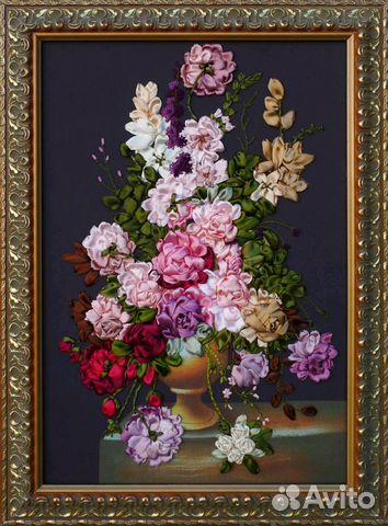 Шикарная Большая Картина Вышивка лентами Ручная ра— фотография №1 92e7d6eb2dfa7