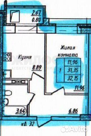 1-к квартира, 32.2 м², 4/16 эт. 89132100033 купить 4
