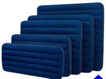 Надувной матрас синий флоковый Интекс новый