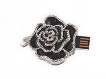 USB 8GB Роза со стразами черная (подвеска)